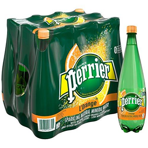 PERRIER L'Orange Flavored Sparkling Mineral Water (Lemon Orange Flavor), 16.9 fl oz. Plastic Bottles (Pack of 6)