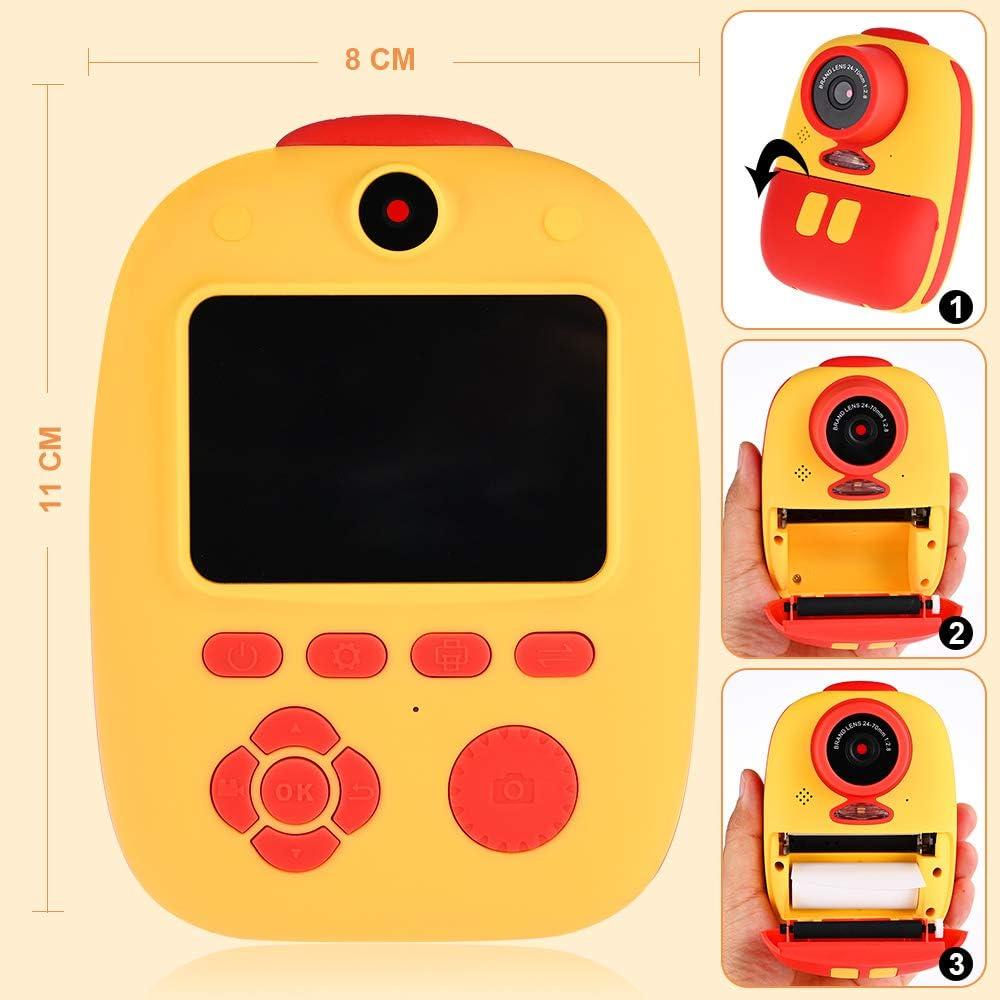 GOLDGE Sofortbildkamera Kinder Kamera Digitale Fotokamera Selfie Videokamera mit 3 Rolle Druckpapier 32G Speicherkarten Lanyard Aufklebern Fotoeckenaufklebern Geschenk f/ür Kinder(Rotgelb)