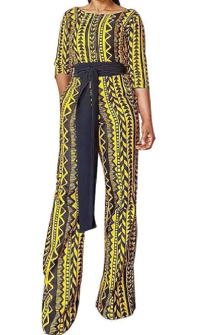 Sayah Womens High Rise Geometric Print OL 1//2 Sleeve Romper Playsuit Jumpsuit
