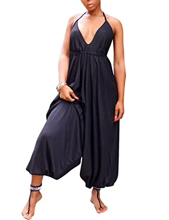 2cf378663d18 Sexy Sleeveless Spaghetti Strap V Neck Solid Loose Harem Long Jumpsuit for  Young Ladies Black S