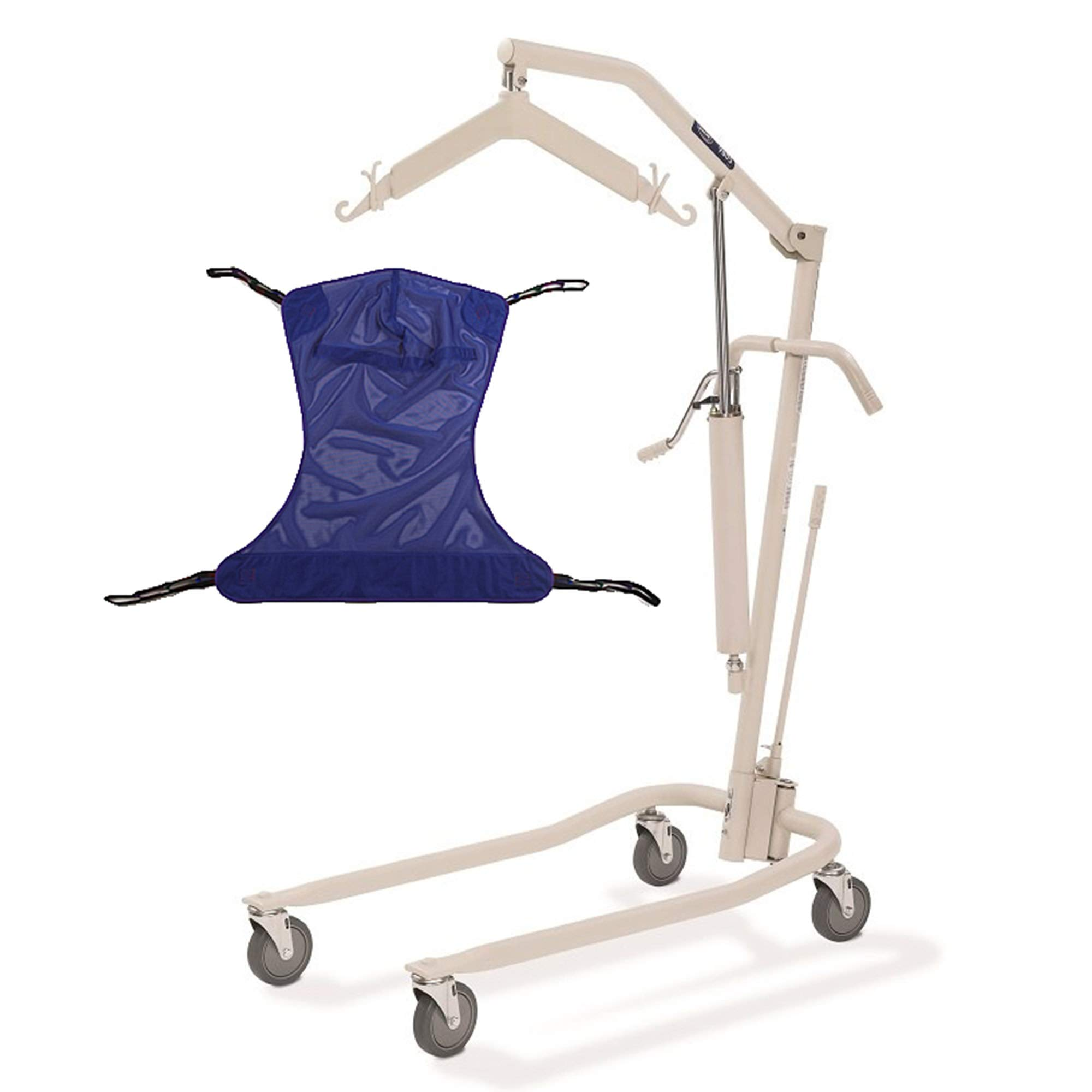 Invacare Painted Hydraulic Lift with Full Body R110 (Medium) Mesh Sling   450 lbs. weight capacity   9805P model