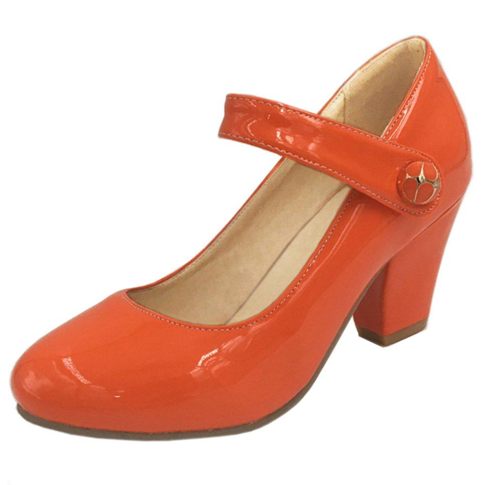 RAZAMAZA Scarpe Con Tacco Alto Blocco Donne Modello Modello Modello Mary Janes Chiuse  Arancione 0e4363