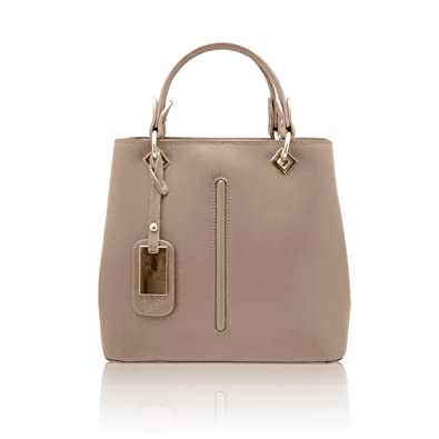 407cf49d1d0 VALENTINA Italian Tote handbag front stitching leather pendant smooth stiff  leather Made in Italy
