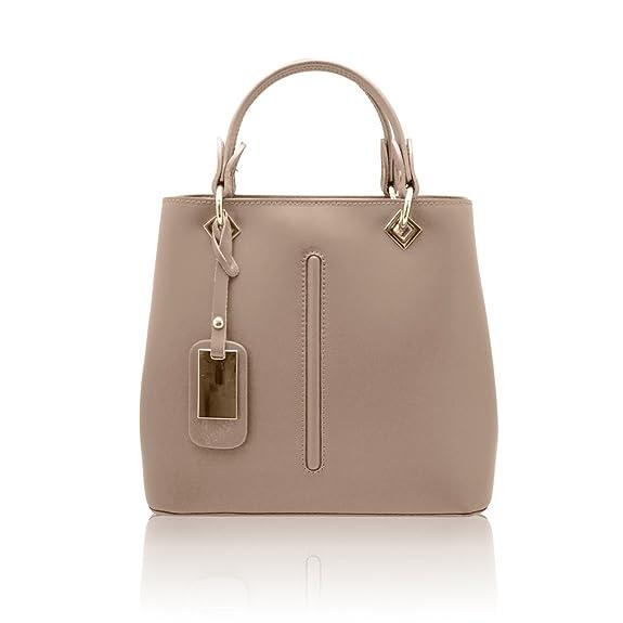 9f7bf02e9 VALENTINA Italian Tote handbag front stitching leather pendant smooth stiff  leather Made in Italy: Handbags: Amazon.com