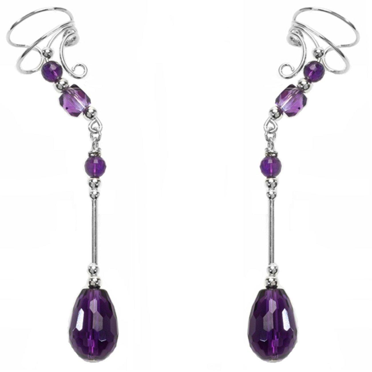 Sterling Silver Left Right Long Dangle Purple Amethyst Briolette Ear Cuff Wrap Set
