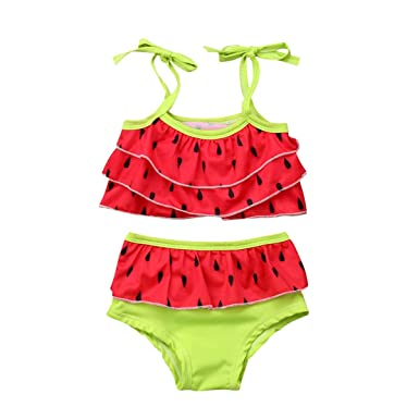 655713f6dfa15 Amazon.com: Toddler Kids Baby Girls Watermelon Bikini Swimsuit 2Pcs Set Bathing  Suit Tankini Swimwear Beachwear: Clothing