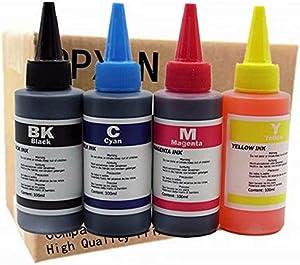 Printer Ink Dye Ink Black/Cyan/Magenta/Yellow Universal Refill Ink Kits Suit for Eposn for Canon for HP for Brother for Lexmark for Samsung for Dell for Kodak All Inkjet Printer (100ML 1Set 4 Pcs)