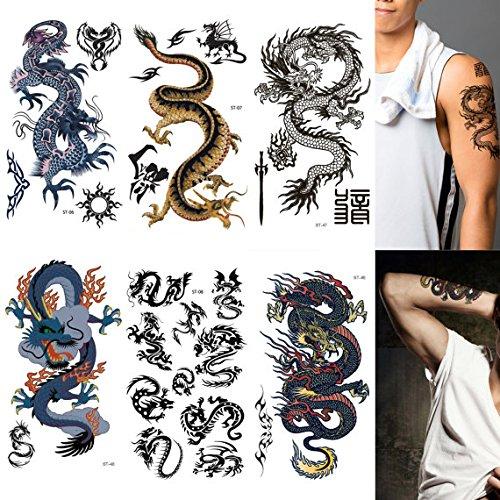 8b8e778094b76 Amazon.com: Supperb® Mix Dragons Temporary Tattoo/6-pack (Classic Set):  Health & Personal Care
