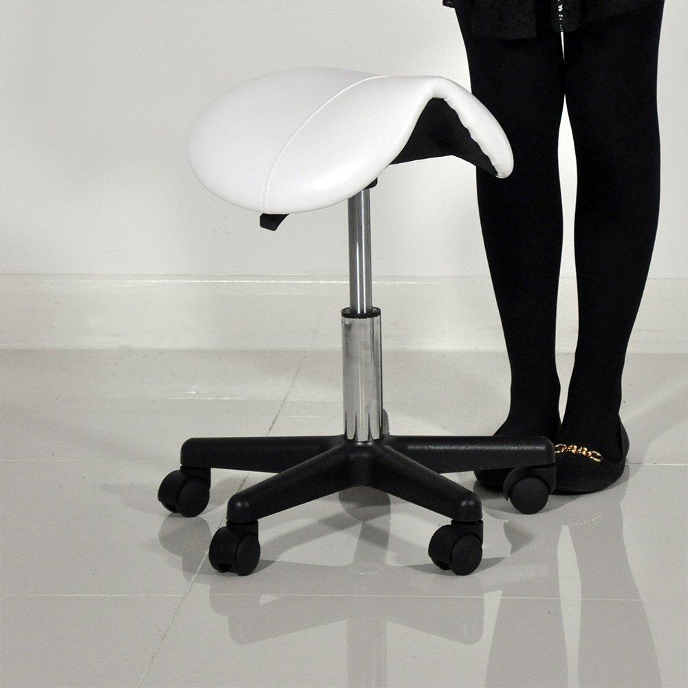 Beauty Therapist Pedicure Swivel Saddle Stool (White) Beauty4Less SADDLEW