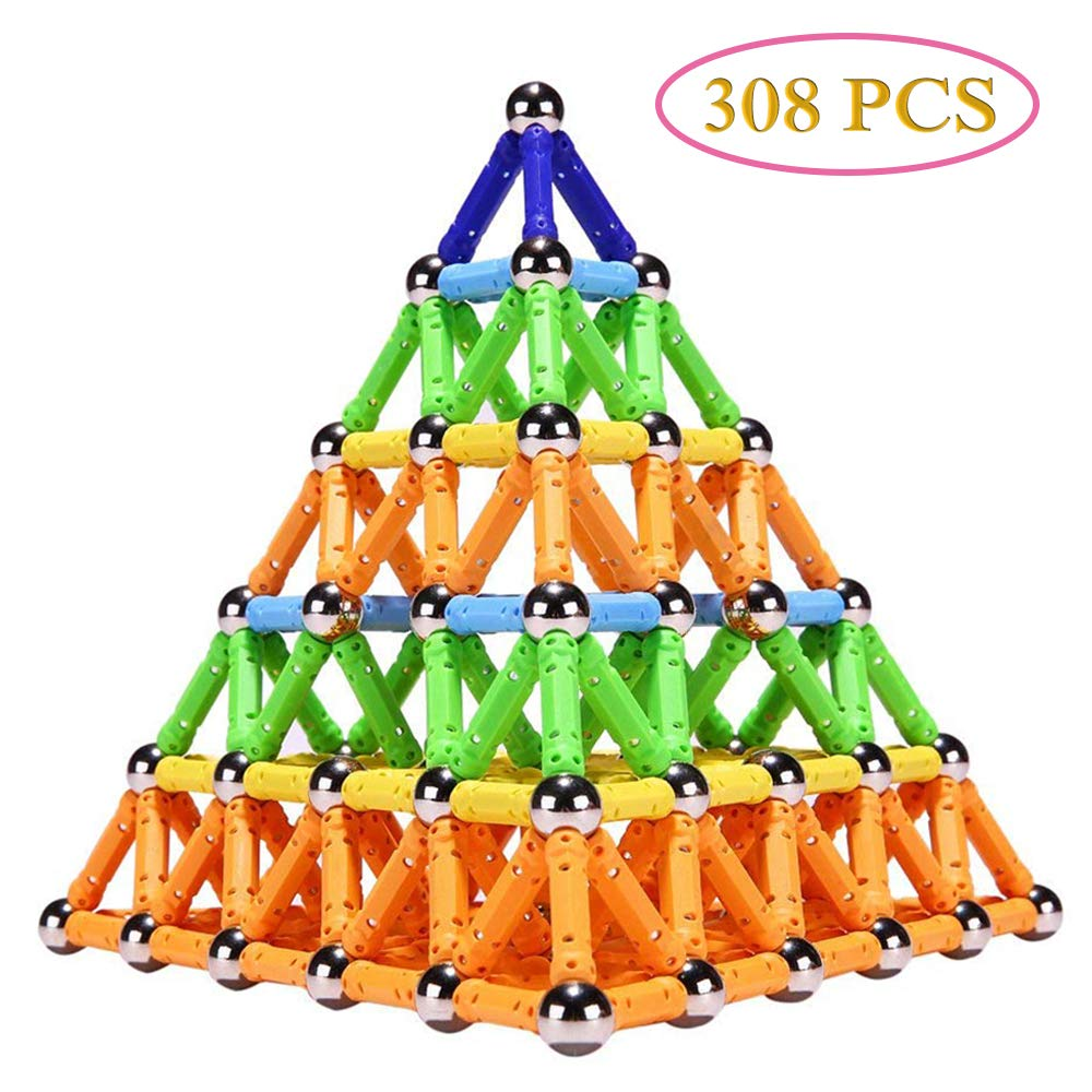 Veatree 308 PCS Magnetic Building Sticks Blocks Toys, Magnet Educational Toys Magnetic Blocks Sticks Stacking Toys Set for Kids and Adult, Non-Toxic Building Toy 3D Puzzle with Storage Bag by Veatree