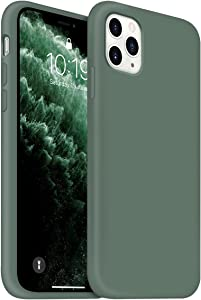 OUXUL iPhone 11 Pro Max Case, Slim Liquid Silicone Phone Case, 6.5 Inch Full Body Microfiber Lining ProtectiveCover (Forest Green)