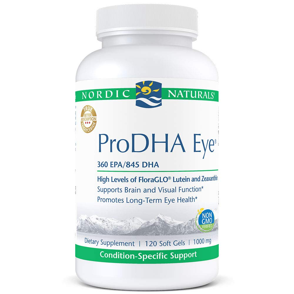 Nordic Naturals ProDHA Eye - Fish Oil, 360 mg EPA, 845 mg DHA, 20 mg FloraGLO Lutein, 4 mg Zeaxanthin, Support for Neurological Function and Long-Term Eye Health*, 120 Soft Gels by Nordic Naturals
