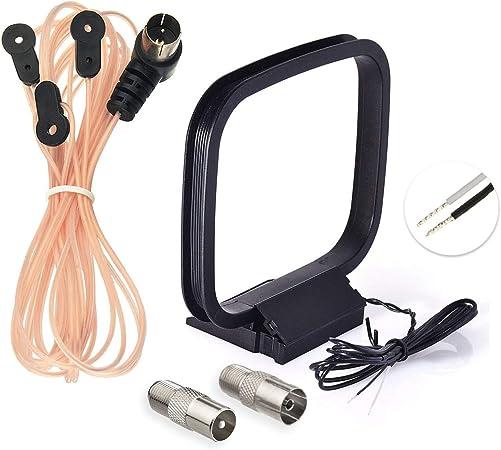 Bingfu - Antena FM de 75 ohmios y Antena Am Loop para Denon Pioneer Onkyo Yamaha Marantz Interior HD Radio Bluetooth estéreo Receptor AV Audio Vedio ...
