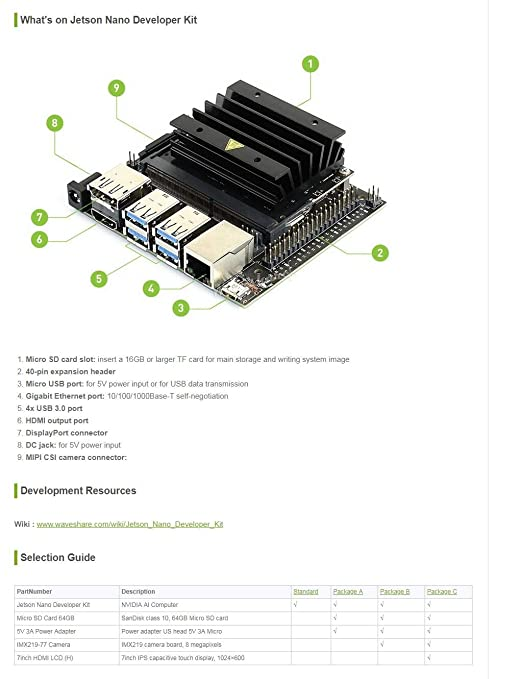 Waveshare Jetson Nano Developer Kit Package B Includes IMX219-77 Camera  Board TF Card Reader Power Adapter for Image Recognition Run Multiple  Neural