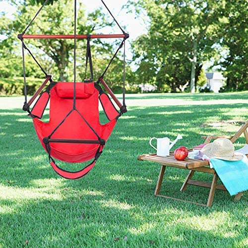Outdoor Hammock Chair for Porch Patio Beach with Foot Rest Red