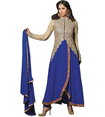 Glitters Dark Blue Georgette Semi Stitched Anarkali Dress Material