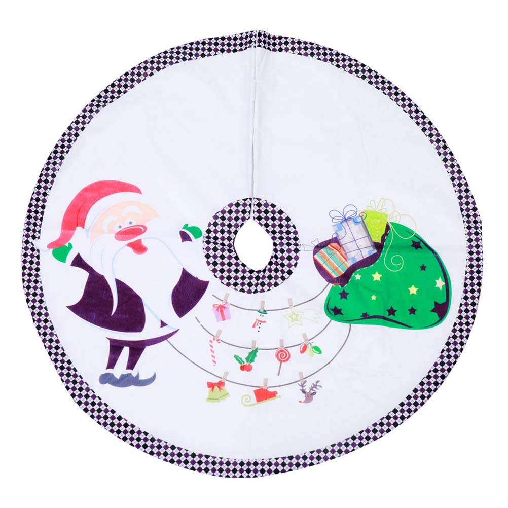 Amosfun Christmas Tree Skirt with Santa Claus Pattern 90cm Xmas Tree Ornaments Home Party Decor