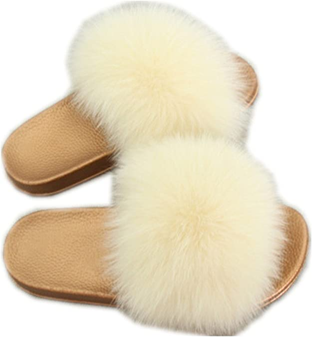 Women Fur Slippers Women Flat Non-Slip Solid Fox Fur Slides Real Fox Hair Slides Large Size Slippers Drop Shipping,Dark