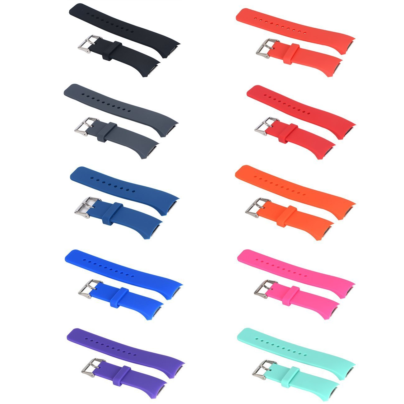 Turnwin 10pcs Large Straps for Gear S2 Bands Smartwatch Silicone Replacement Band/Strap for Samsung Gear S2 SM-R720 / Samsung Gear S2 SM-R730