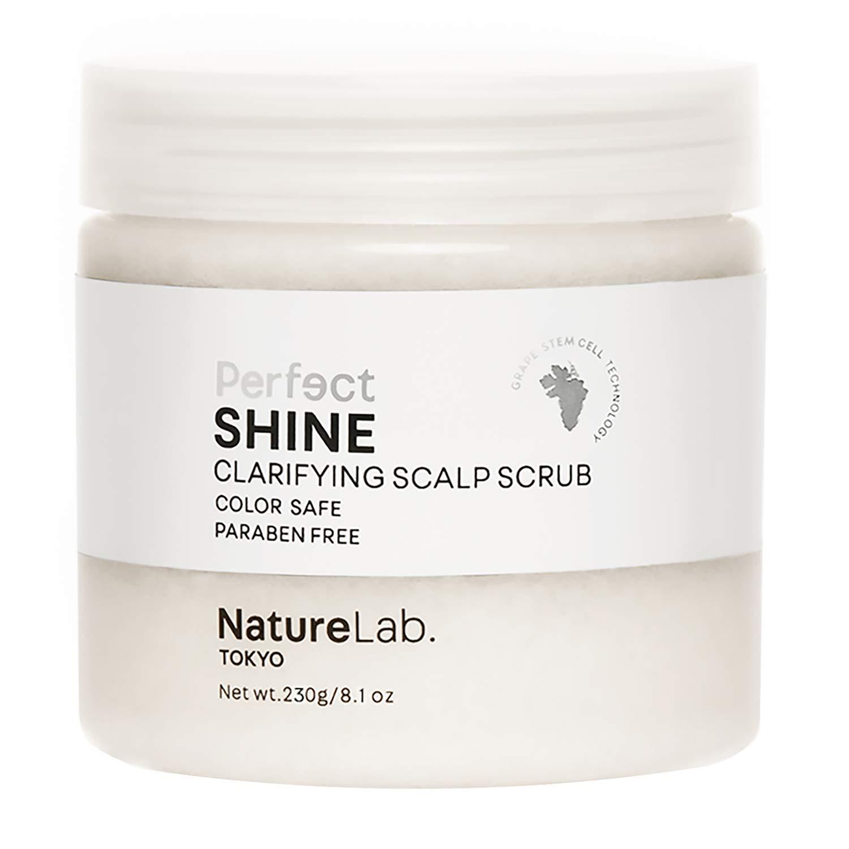 NatureLab Perfect Shine Scalp Scrub - Dry Scalp Treatment + Scalp Moisturizer - Gentle Scalp Exfoliator Helps Hair Shine with Grape Stem Cells, Pearl + Hyaluronic Acid - Paraben-Free (8.1 oz/230g)