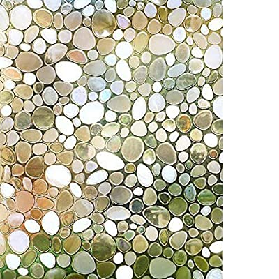 RABBITGOO Privacy Window Film Decorative Window Film Static Cling Glass Film 3D Pebble Glass Film for Home Office