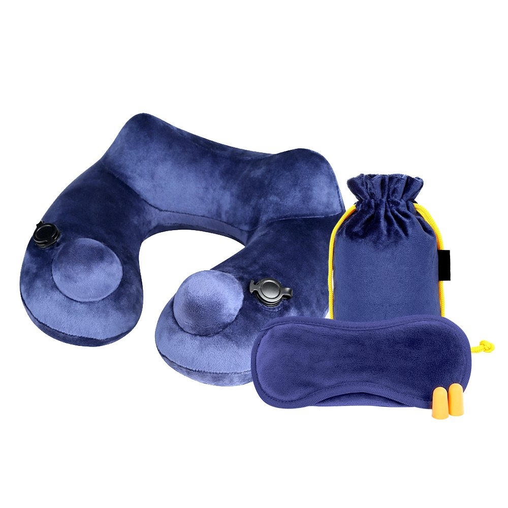 JIEMEI インフレータブルトラベルピロー 3つで1つのセット [3D 快眠マスクと耳栓付き] 11*11*3.5 ブルー US-TPI-BL B071LHPZ6W ブルー