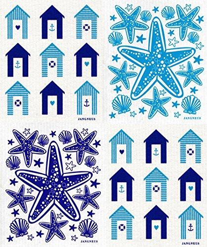 Swedish Dishcloth - (TQ) Set of 4 Turquoise & Blue - Cabanas, Boats, Tulips - Huts Beach Europe