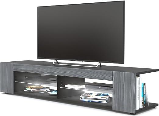 Mesa para TV Lowboard Movie, Cuerpo en Negro Mate/Frentes en avola Antracita con iluminación LED en Blanco: Vladon: Amazon.es: Hogar