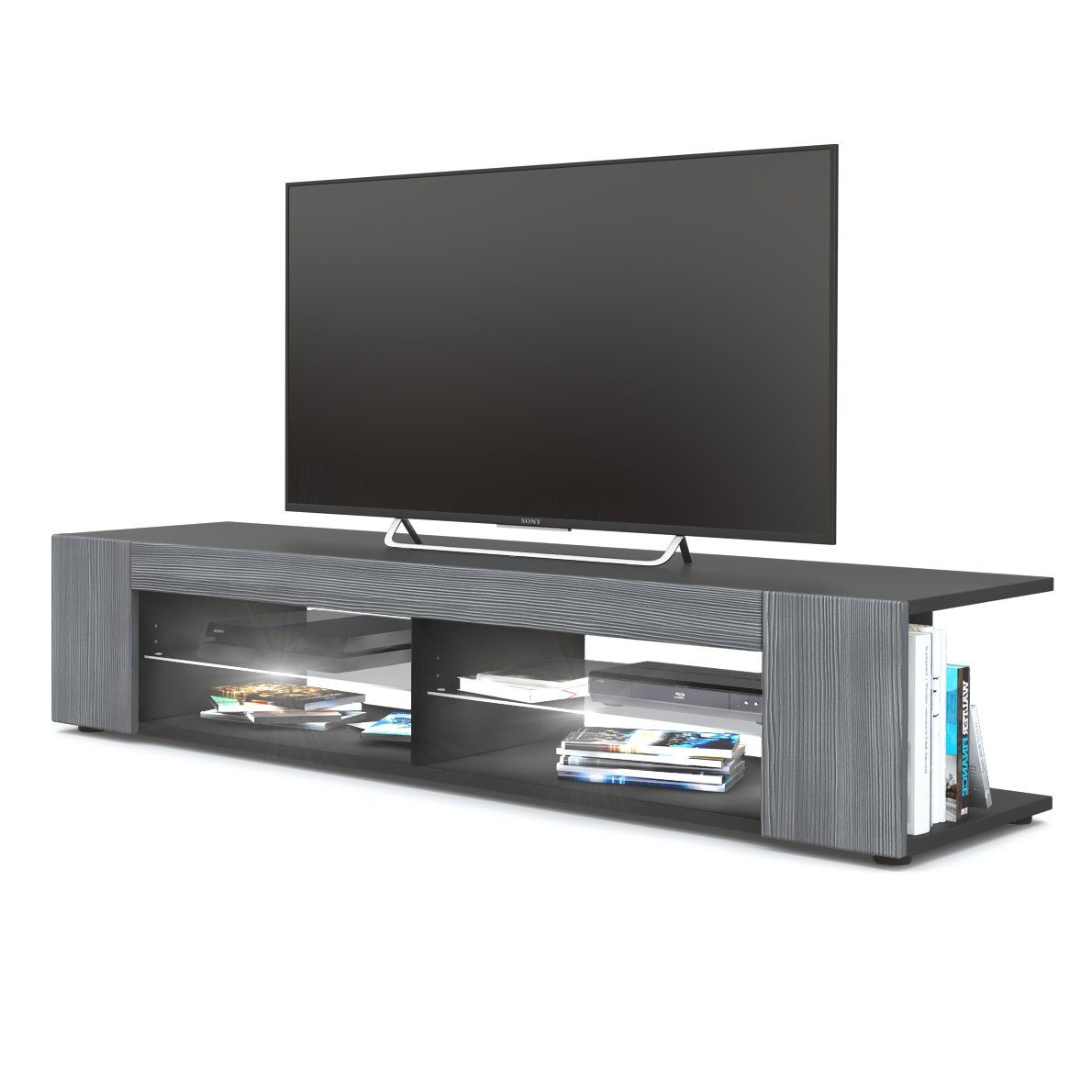 Front in Avola-anthracite with LED in White Vladon TV Unit Stand Movie, Carcass in Black matt Front in Grey High Gloss