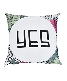 Winkey Pillow Case, Letter Pillowcase Cotton Linen Pillow Case Sofa Home Decorative Geometric Throw Cushion Cover,Best Gifts,Anti-Allergy,Anti-Bacterial,Pillow Protectors 18 x 18 Inch (E YES)
