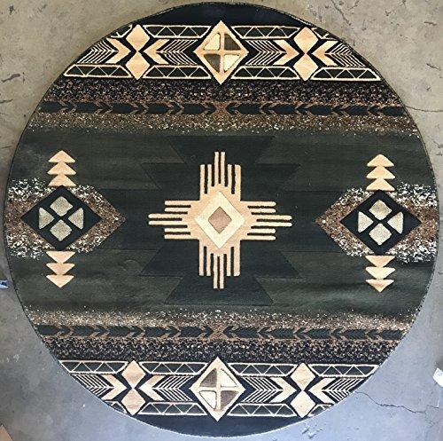 Indian Sage - Southwest Native American Round Area Rug Sage Green Design#C318 (5ftX5ft Round)