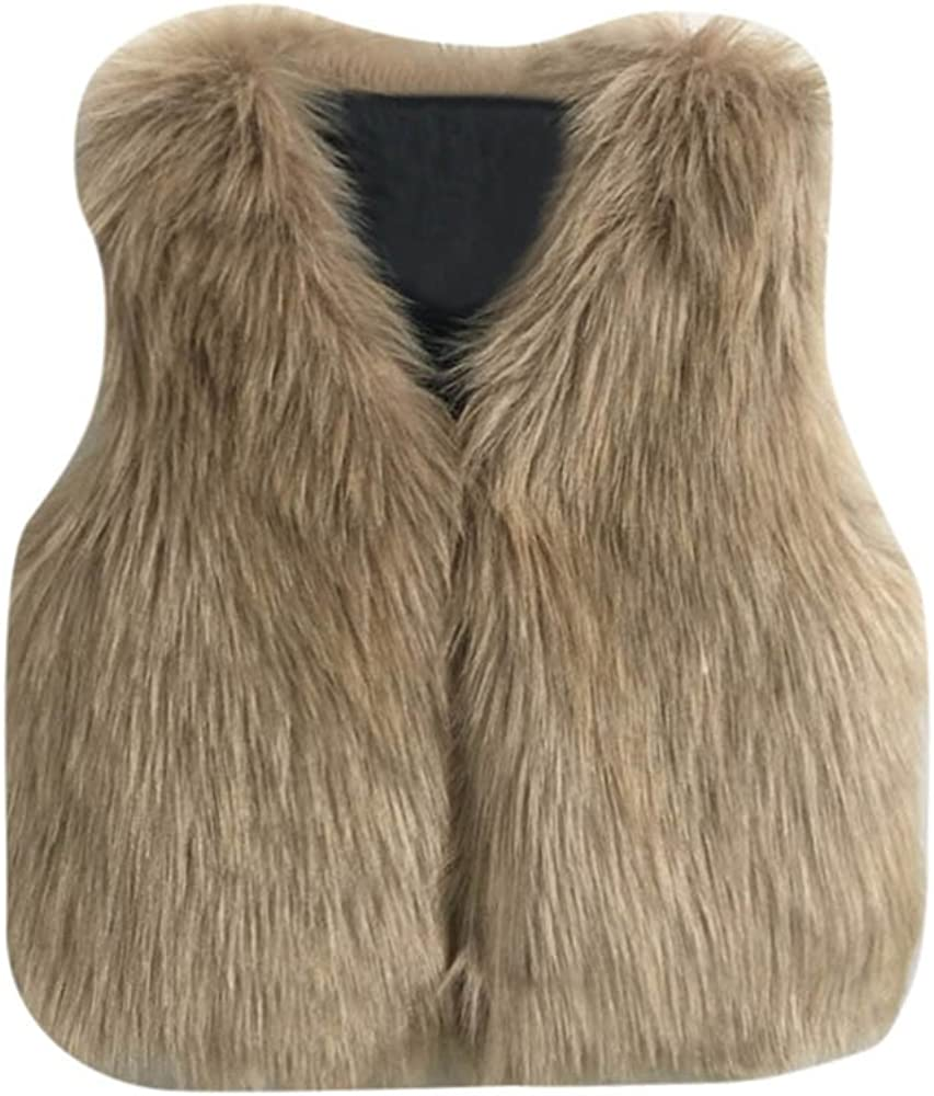 aliveGOT Toddler Girl Faux Fur Vest Coat Winter Warm Waistcoat Outerwear