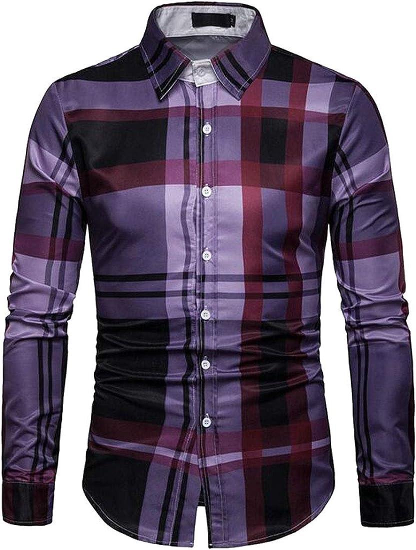 Domple Men Slim Long Sleeve Casual Plaid Business Button Down Dress Shirt
