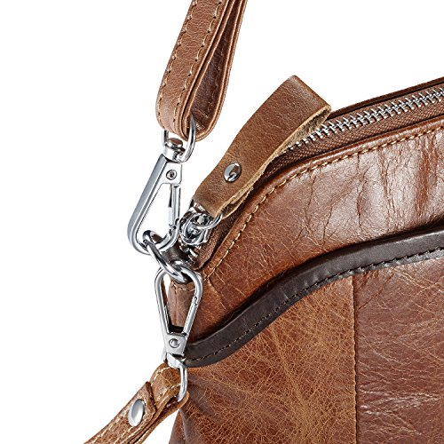 Coffee Lecxci Women's Tan Bag Shoulder Smartphone Purses Small Travel Leather Crossbody Vintage Women for qgUxr76Fq