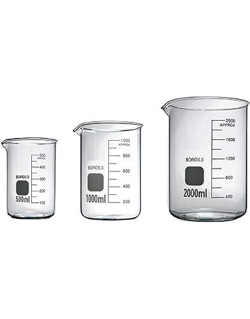 Rocwing - Borosilicato 3.3 Vaso de Vidrio Graduado para Uso en Química Médica de Laboratorio