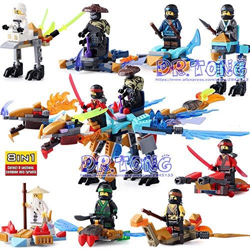 Building blocks 8pcs Ninja Blocks Figures Ninja Zane KOZU Jay Kai Cole Diy (Neu Castle)