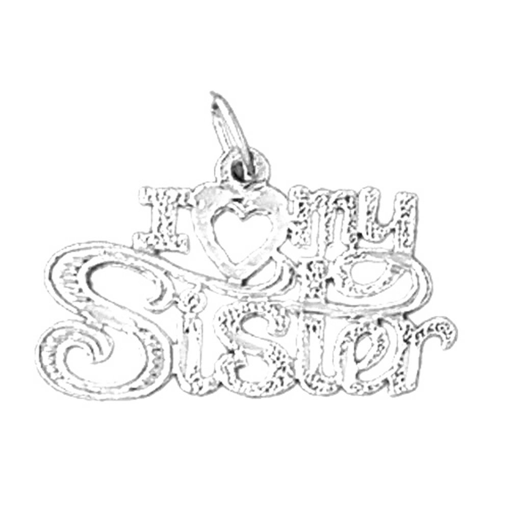Jewels Obsession I Love My Sister Pendant Sterling Silver 925 I Love My Sister Pendant 18 mm