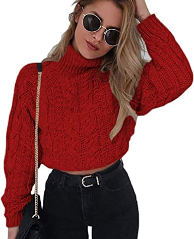 Women Cropped Sweaters Cable Knit Turtleneck Long Sleeve