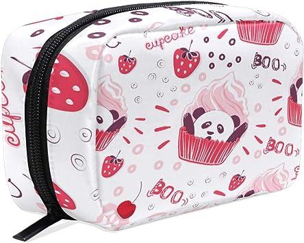 Bonito Estuche de Maquillaje para Cupcakes, diseño de Panda, para Guardar cosméticos, cosméticos, lápices, Bayas de penique, Bolsa de Aseo de Viaje, Organizador para Mujeres y niñas al Aire Libre: Amazon.es: Equipaje