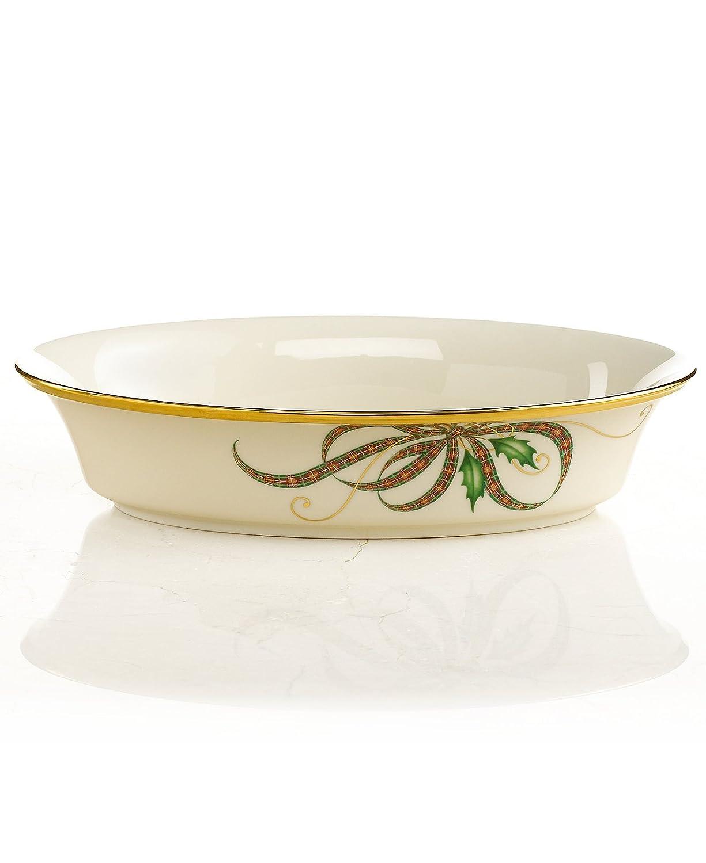 Lenox Holiday Nouveau Ribbon Collection Open Vegetable Bowl