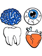 Kalapure Human Organ Series Brooches with Teeth Heart Brain Eyeball Pins Badge for Clothes Bags