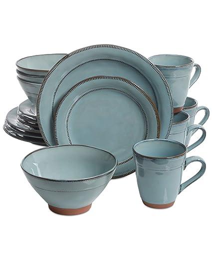Amazon.com: Laurie Gates Valencia Teal 16-Pc. Dinnerware Set ...