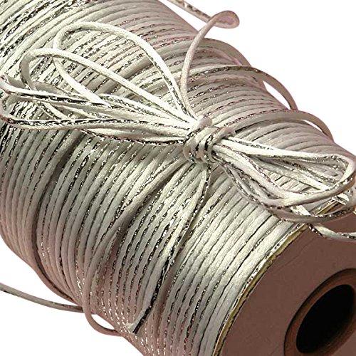 White/Silver Metallic Rat Tail Cord 2mm X 200 Yards