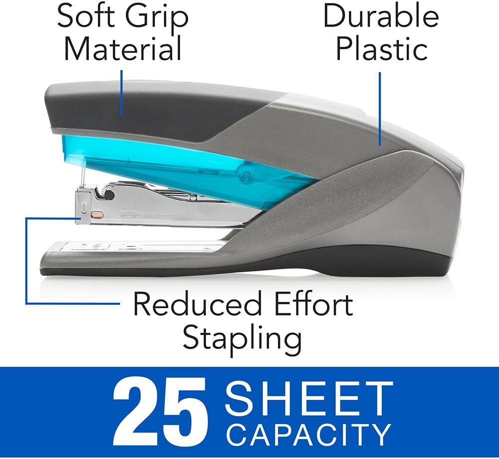 25 Sheet Capacity Full Size Desktop Stapler 66404 Blue//Gray Optima 25 - SWI66404 Reduced Effort New Stapler