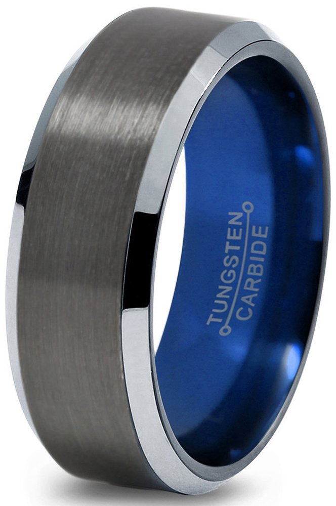 Chroma Color Collection Tungsten Wedding Band Ring 8mm for Men Women Blue Black Gunmetal Beveled Edge Brushed Polished Size 10