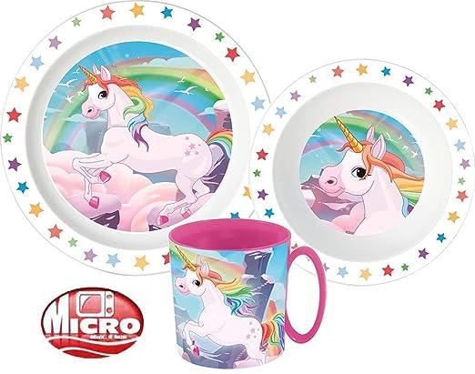 Unicornio Unicorn Vajilla infantil con plato, cuenco para cereales ...