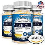 Spoonful Omega 3 Fish Oil 2000 mg, 100 Capsules, Rapid Release Burpless Softgels, NSF-Certified [3 PK]
