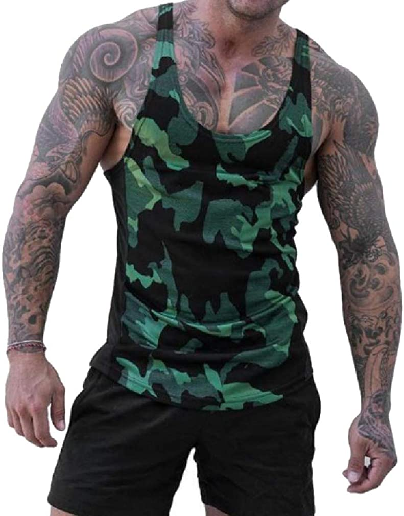 AngelSpace Men Quick Dry Outdoor Camo Sports A-Shirt Tank Top Muscle Shirt