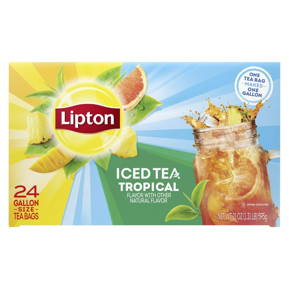 Lipton Tropical Iced Tea Bags Unsweetened Made with Tea Leaves Sourced from Rainforest Alliance Certified Farms, 24 Count (Pack of 2)