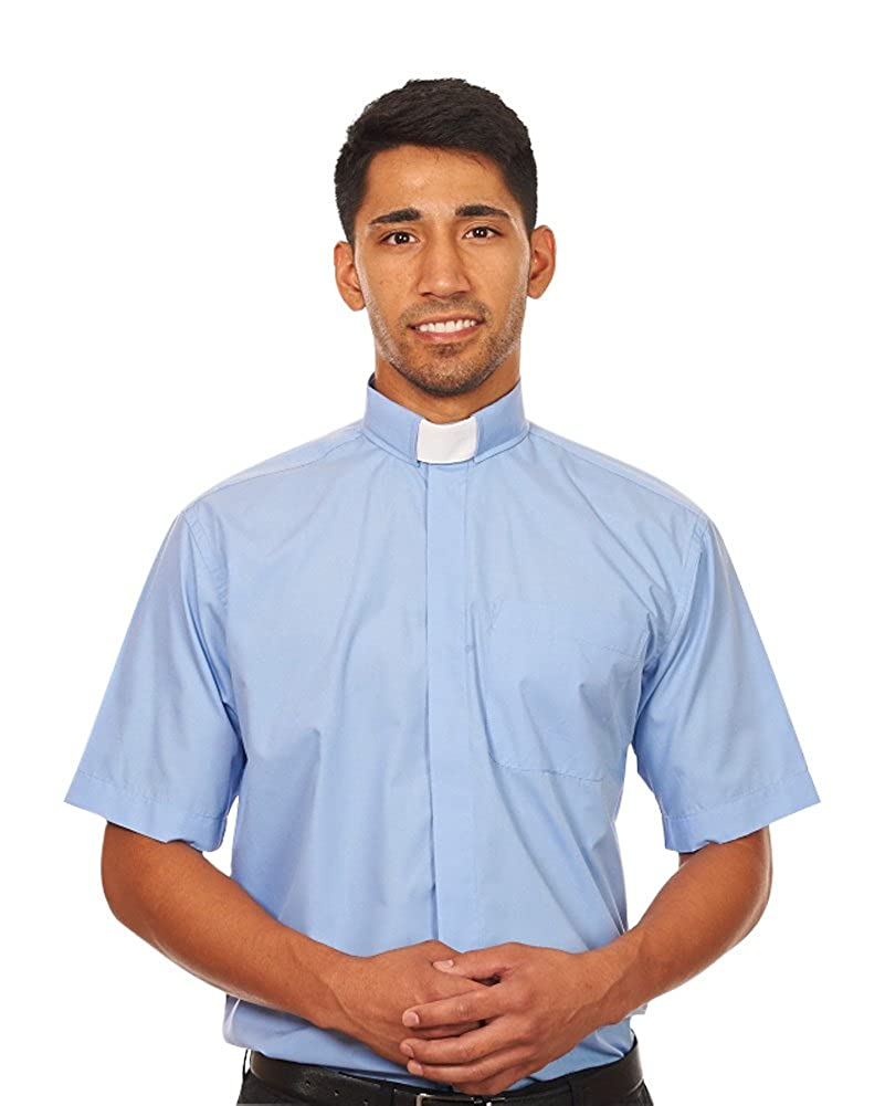 Silver Label By Fhs Mens Short Sleeves Tab Collar Clergy Shirt